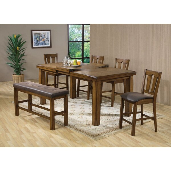 Yokley Counter Height Solid Wood Dining Table by Millwood Pines