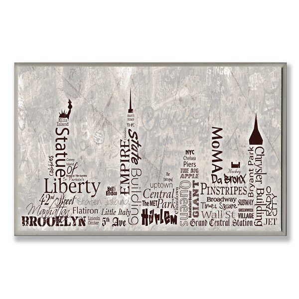 NYC City Skyline Textual Art Wall Plaque by Stupell Industries