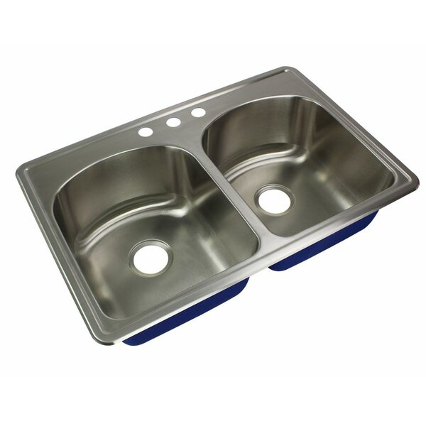 Meridian 33 L x 22 W Double Basin Drop-in Kitchen Sink by Transolid
