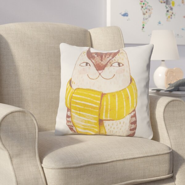 Cooke Cool Cat Cotton Throw Pillow by Harriet Bee