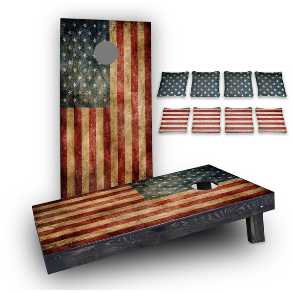 Worn American Flag Custom 10 Piece Cornhole Board Set by Custom Cornhole Boards