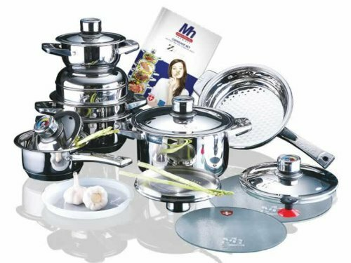 Millerhaus 17-Piece T304 Stainless Steel Cookware Set by Concord Cookware