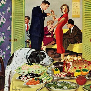 Doggy Buffet by Richard Sargent Painting Print on Wrapped Canvas by Marmont Hill