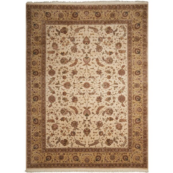 Dunluce Hand-Knotted Wool Beige/Brown Area Rug by Canora Grey