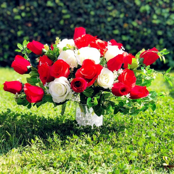 Artificial Red Rose and Eucalyptus Centerpiece by Charlton Home