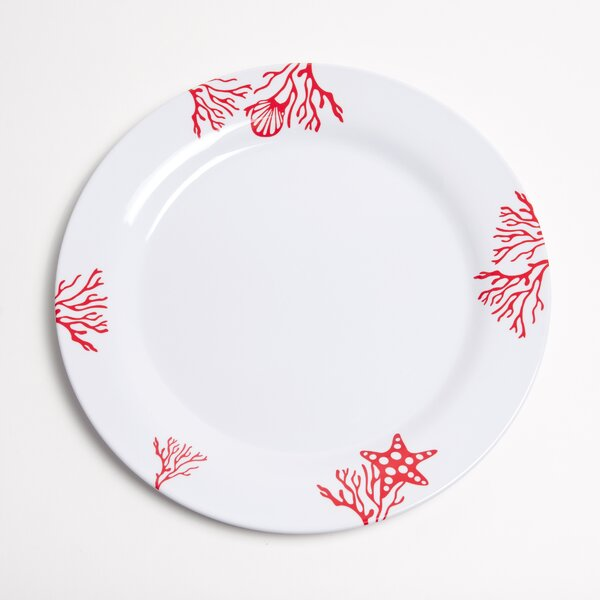 Decorated Melamine Coral Non-skid Platter (Set of 2) by Galleyware Company