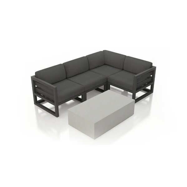 Remi 5 Piece Sectional Seating Group with Sunbrella Cushions