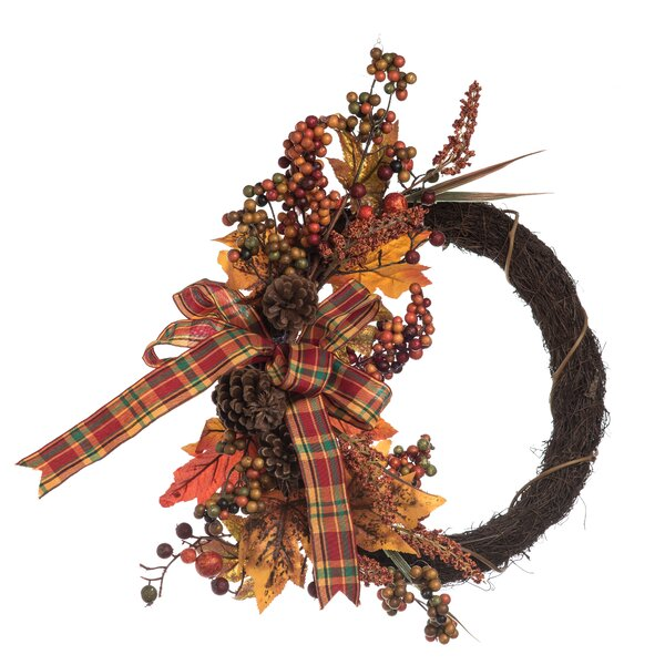 Percy Vine and Flower Harvest 18 Wreath by August Grove