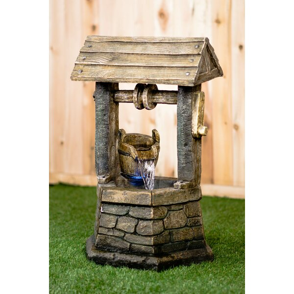 Resin Wishing Well with Pouring Bucket Lighted Fountain by Hi-Line Gift Ltd.
