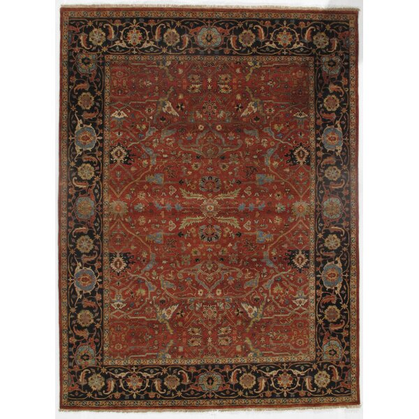 Malpass Super Fine Farahan Hand-Knotted Wool Red/Navy/Ivory Area Rug