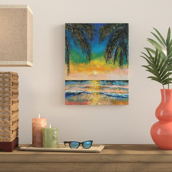 Tropical Sunset Painting Print on Wrapped Canvas by Bay Isle Home