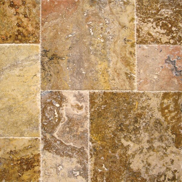 Tuscany Scabas Travertine Field Tile in Honed, Unfilled and Chipped Yellow by MSI