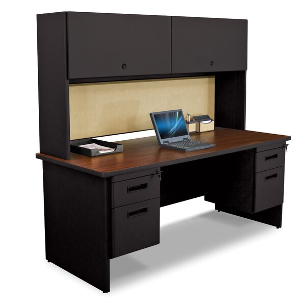 Pronto Flipper Door Cabinet and 2 Pedestal Computer Desk with Hutch by Marvel Office Furniture