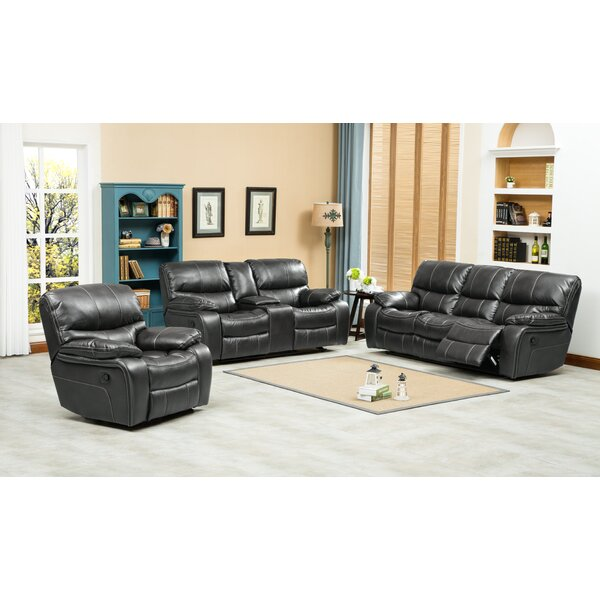 #2 Ewa Reclining 3 Piece Leather Living Room Set By Roundhill Furniture Fresh
