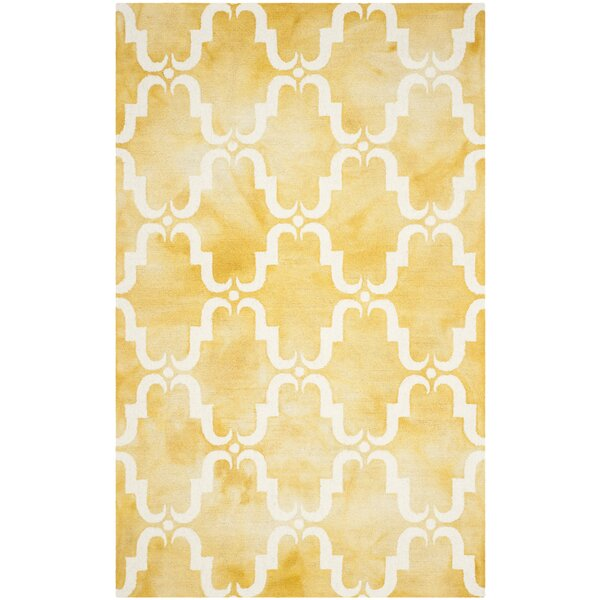 Hand-Tufted Gold/Ivory Area Rug by Bungalow Rose