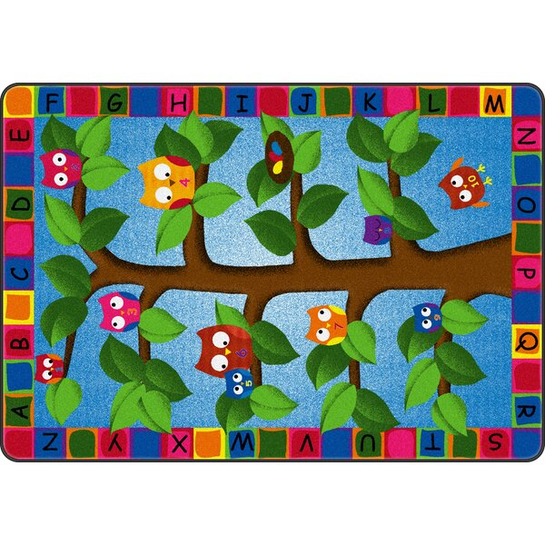 Alphabet Owls Green/Blue Area Rug by Flagship Carpets
