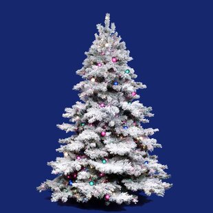 Flocked Alaskan 3 White On Green Artificial Christmas Tree With 100 Dura Lit Clear Lights