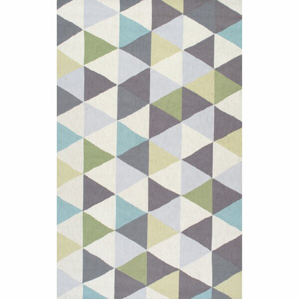 Peasley Hand-Hooked Gray/Blue Area Rug by Mercury Row