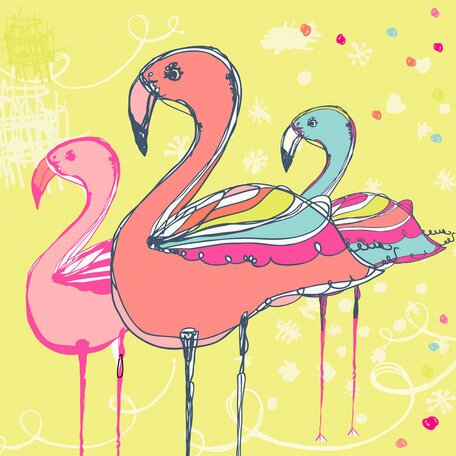 Flamingo Fun Canvas Art by Oopsy Daisy
