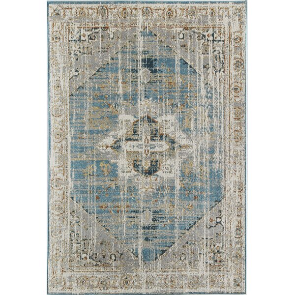 Avenue Boho Power Loom Blue/Beige Area Rug by CosmoLiving by Cosmopolitan