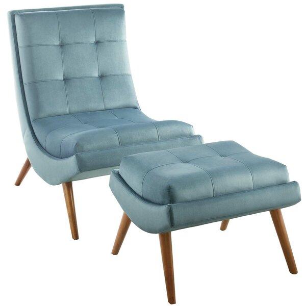 Tomah Upholstered Performance Velvet Lounge Chair and Ottoman by Brayden Studio