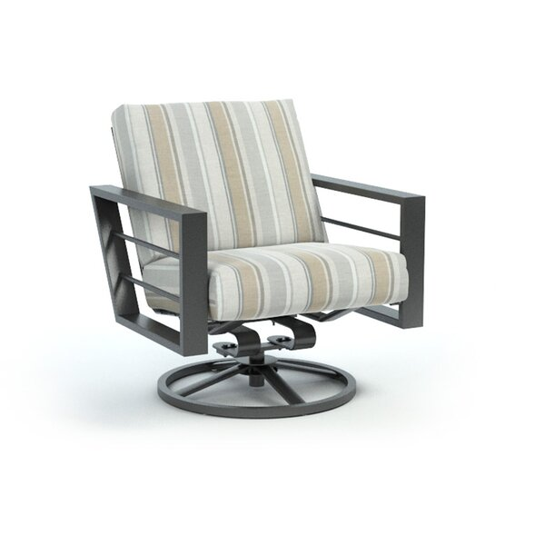 Funk Trusted Fog Low Back Rocker Chat Swivel Patio Chair with Sunbrella Cushions by Breakwater Bay