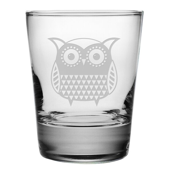 Folk Art Owl Double Old Fashioned Glass (Set of 4) by Susquehanna Glass
