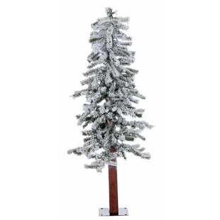 Flocked Alpine 4 White Green Pine Trees Artificial Christmas Tree With 100 Clear Lights