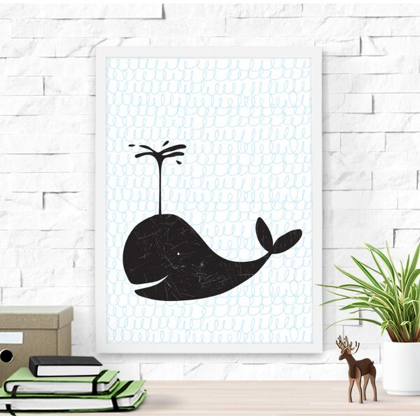 Cute Whale Paper Print by Dilemma Posters