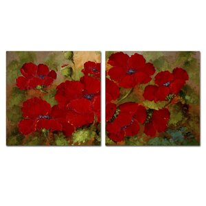 'Red Poppies' Wall Art Set by Trademark Global