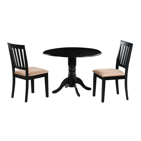 Edgar 3 Piece Drop Leaf Solid Wood Dining Set by Millwood Pines