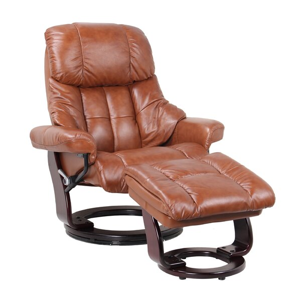 Monsour Leather Manual Swivel Recliner and Ottoman by Latitude Run Latitude Run