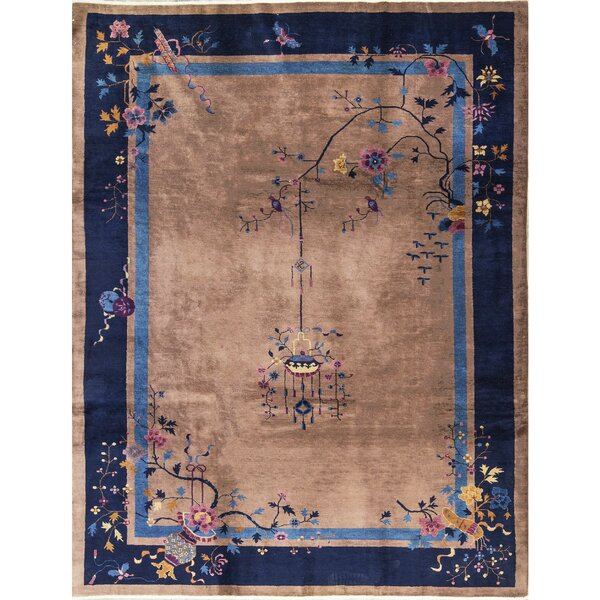 One-of-a-Kind Hand-Knotted Wool Camel/Navy Indoor Area Rug by Bokara Rug Co., Inc.