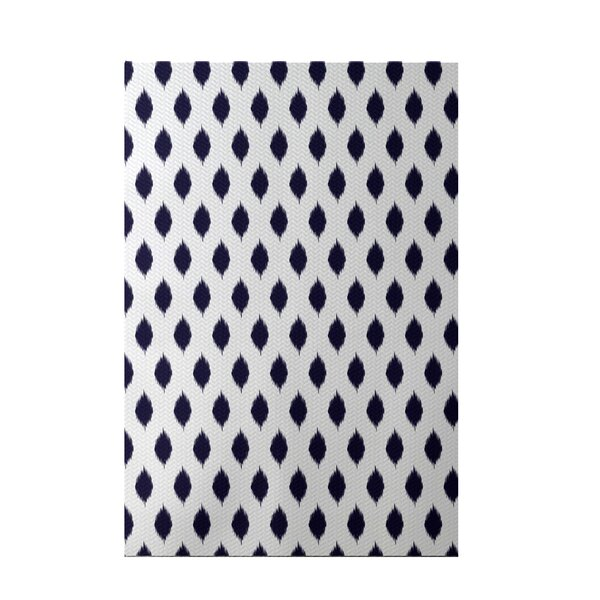 Cop-Ikat Geometric Print Navy Blue Indoor/Outdoor Area Rug by e by design