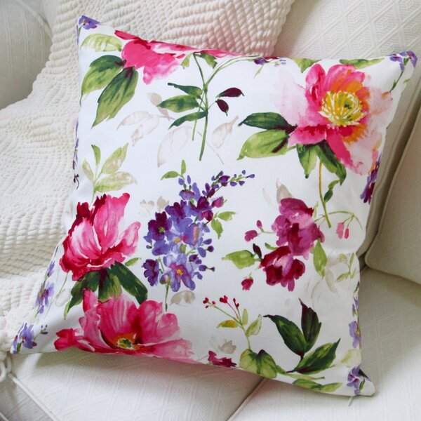 Watercolor Blossom Cotton Throw Pillow by Artisan Pillows
