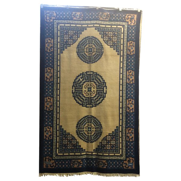 One-of-a-Kind Vo Antique Peking Hand-Knotted Wool Ivory/Navy Blue Area Rug by Bloomsbury Market