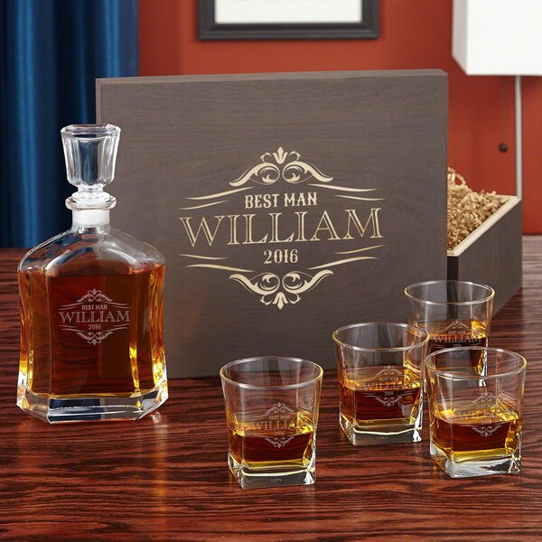 Lundeen Engraved Glass Whiskey 6 Piece Beverage Serving Set by Darby Home Co