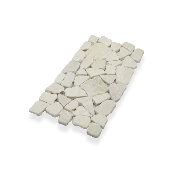 Border Interlock Natural Stone Mosaic Tile in White by Pebble Tile