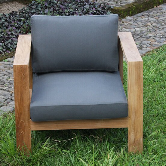 Gillian Teak Patio Chair with Cushion by Foundstone Foundstone