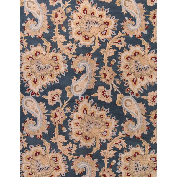 Skye Floral Traditional Agra Oriental Hand-Tufted Wool Beige/Blue Area Rug by Darby Home Co