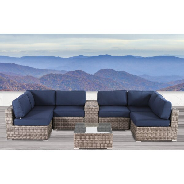 Lazaro 8 Piece Rattan Sectional Seating Group with Sunbrella Cushions by Sol 72 Outdoor
