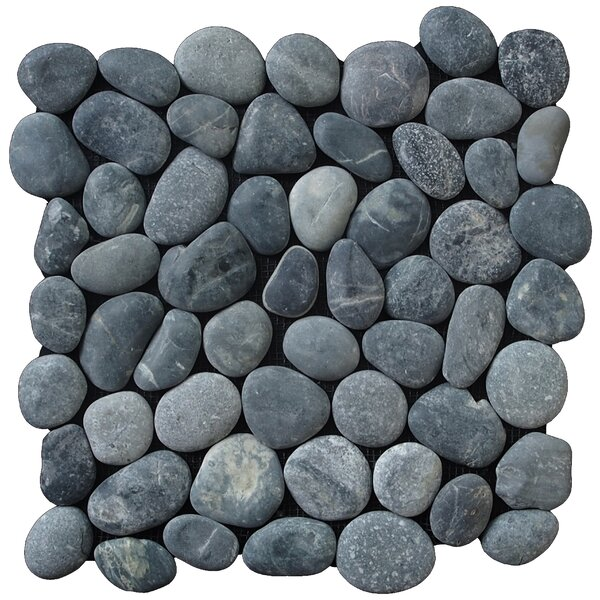 Classic Random Sized Natural Stone Pebble Tile in Black by Pebble Tile