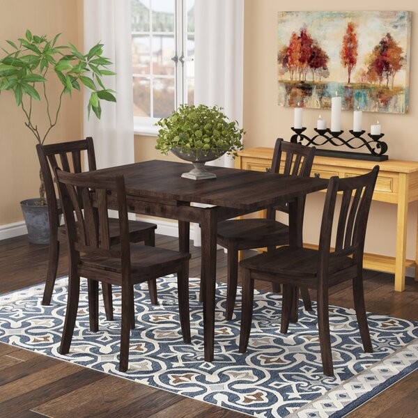 Pico 5 Piece Extendable Solid Wood Dining Set by Alcott Hill