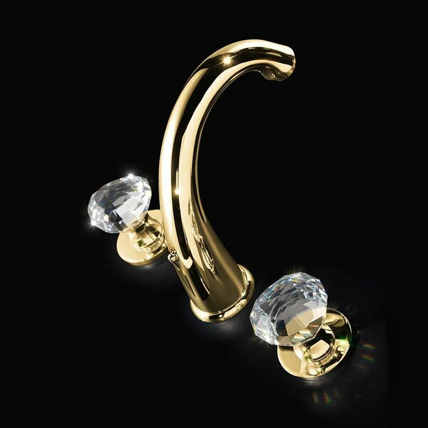 Rock 3 Hole Polished Crystal Widespread Bathroom Faucet by Maestro Bath