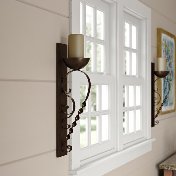 Twisted Pillar Metal Sconce (Set of 2) by Red Barrel Studio