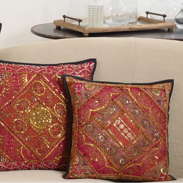 Sharyn Handmade Sari Sitara Design Cotton Throw Pillow by Bloomsbury Market