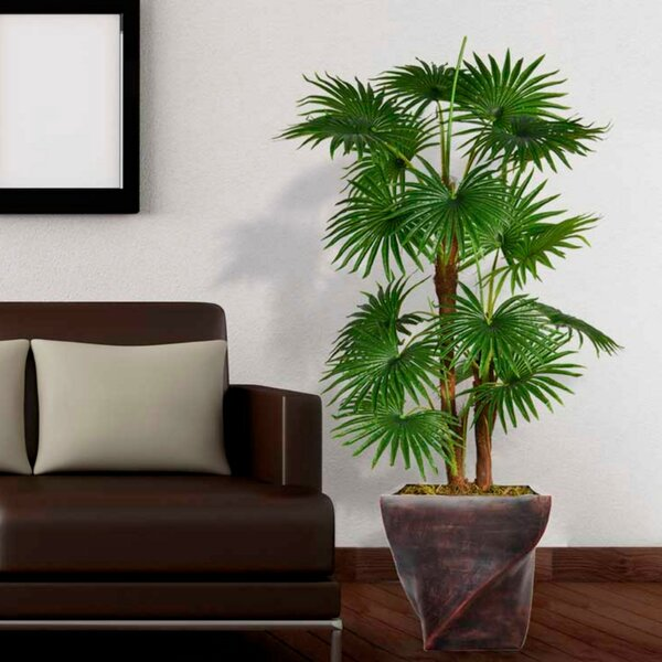 Artificial Indoor/Outdoor Décor Floor Palm Tree in Planter by 17 Stories
