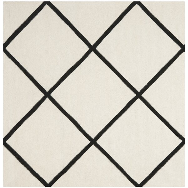Wilkin Hand-Tufted Wool Ivory/Black Area Rug by Wrought Studio