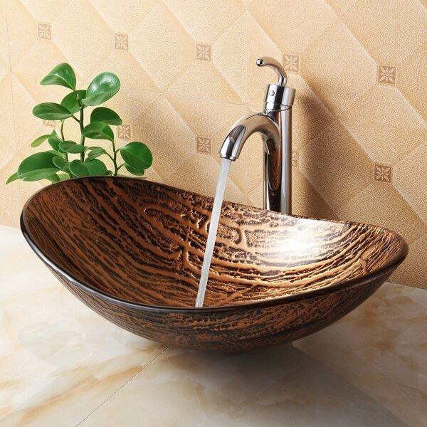 Elite Hot Melted Tree Bark Boat Glass Oval Vessel Bathroom