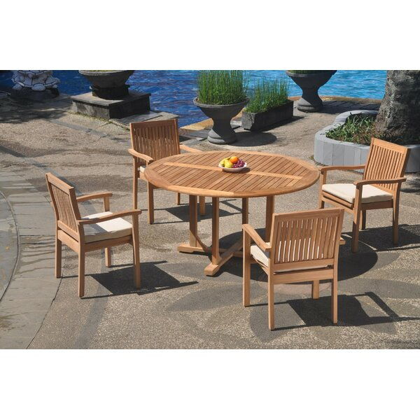 Oavia 5 Piece Teak Dining Set by Rosecliff Heights